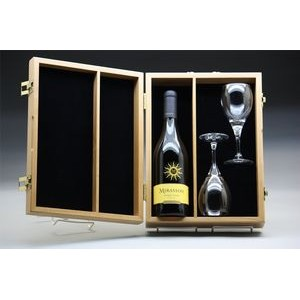 "10.5"" x 15"" - Hardwood Box - Partitioned Wine Box with Hinge Lid - Laser Engraved - USA-Made"